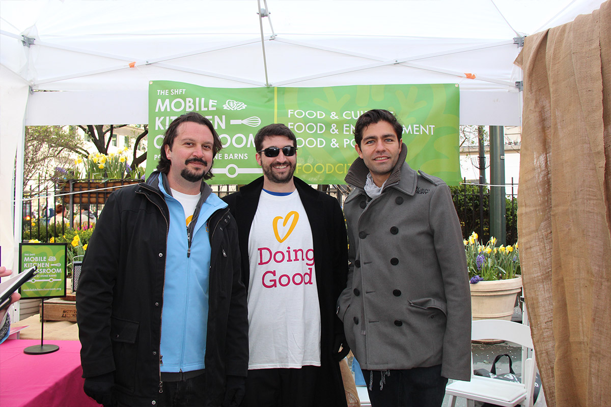 Adrien Grenier joins the official Good Deeds Day event in Herald Square