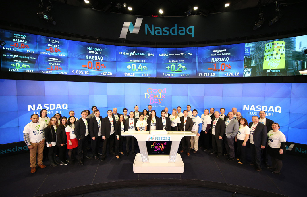 Team Good Deeds Day ringing the bell at NASDAQ
