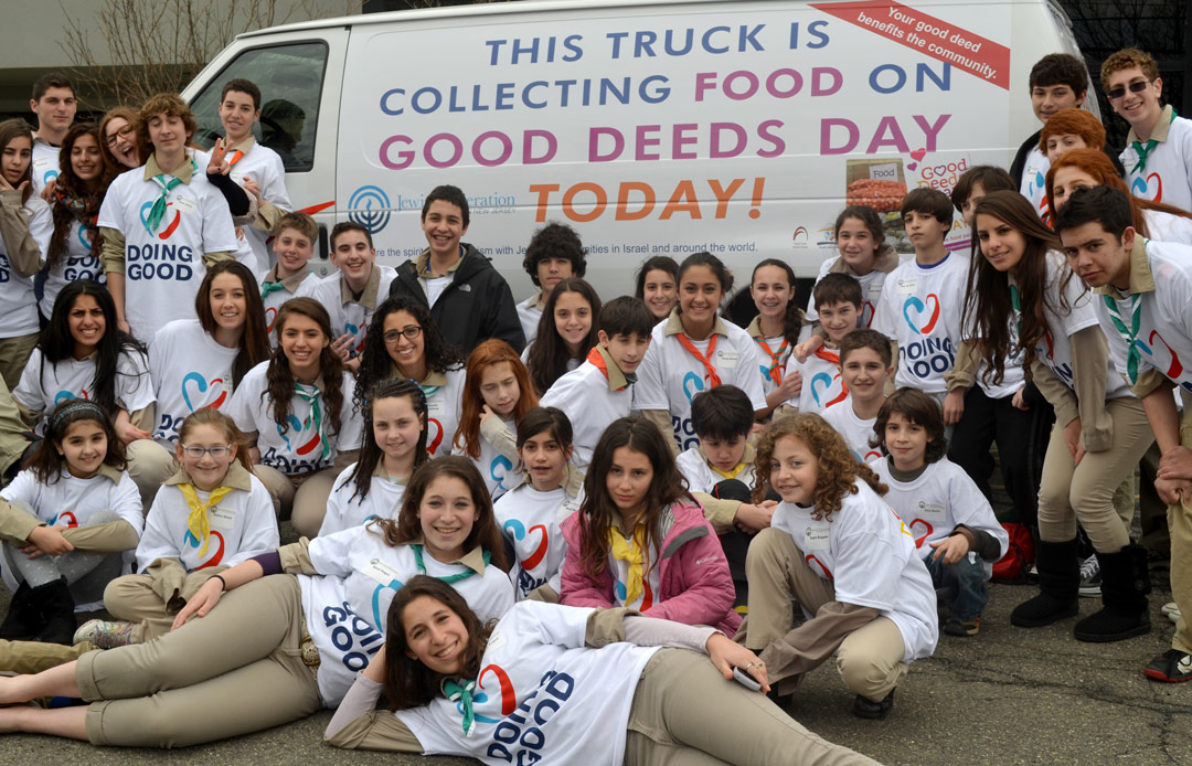 Volunteers with a food collection drive