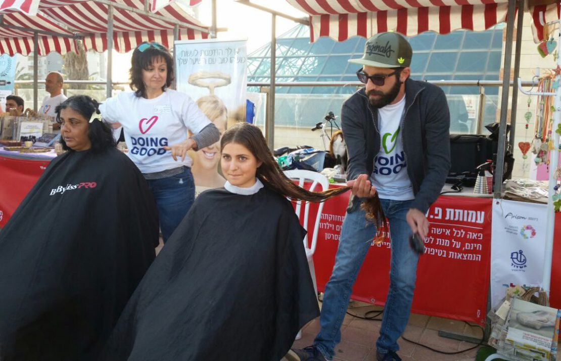 Women donating hair to cancer patients