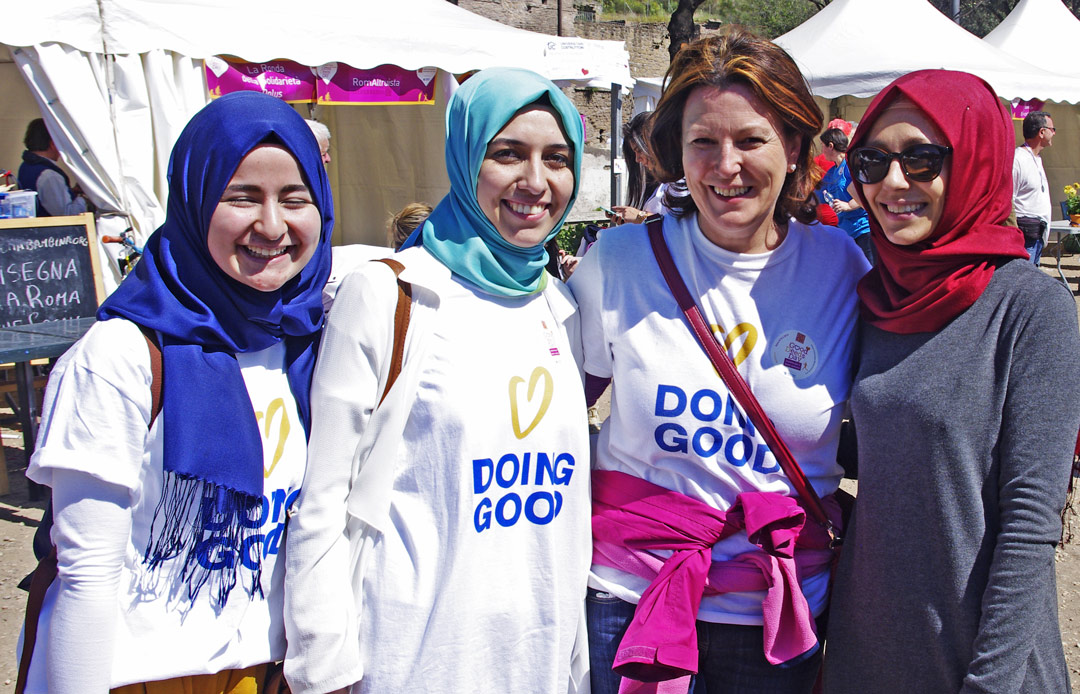 Volunteers in a Good Deeds Day fair