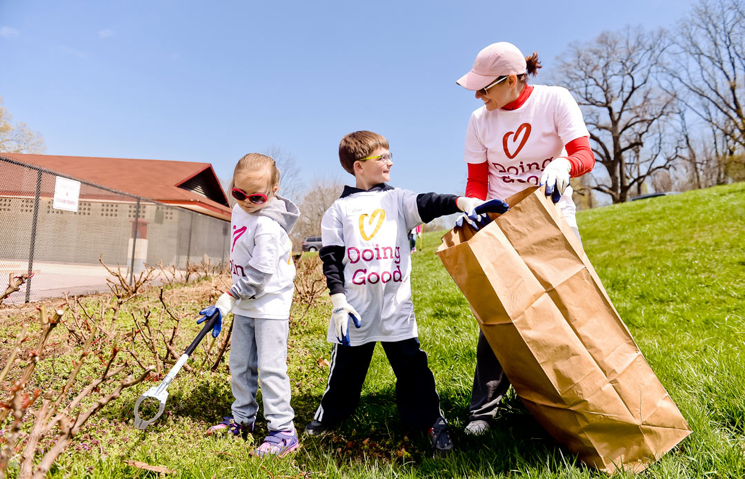 Volunteers cleaning up a park