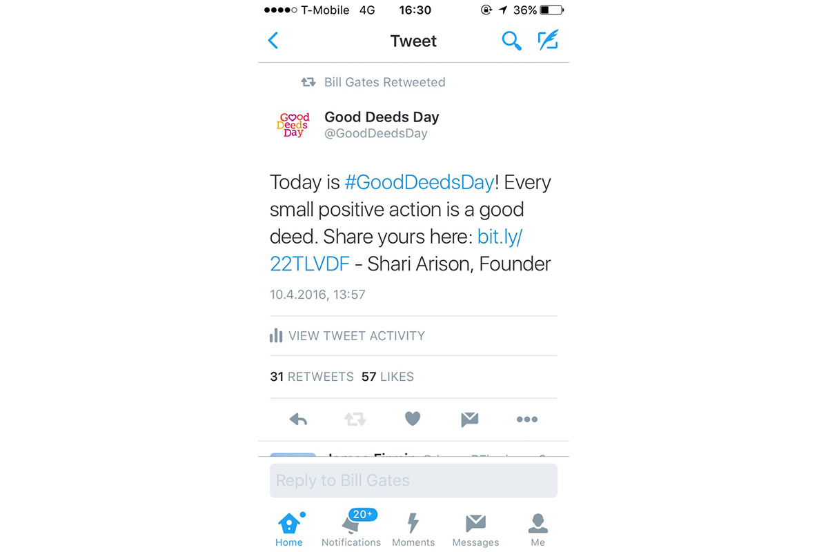 Bill Gates retweets Shari Arison's Good Deeds Day message.