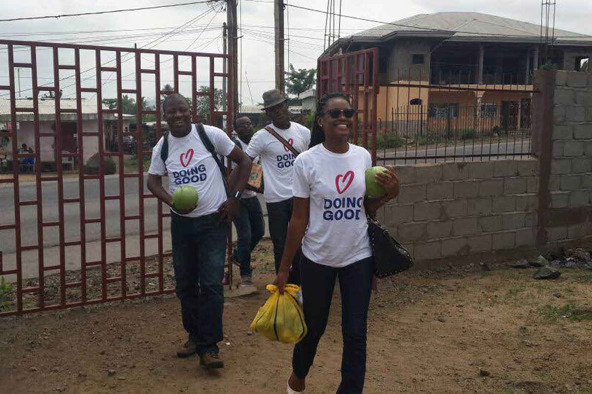 Volunteers get ready for a Good Deeds Day event in Cameroon