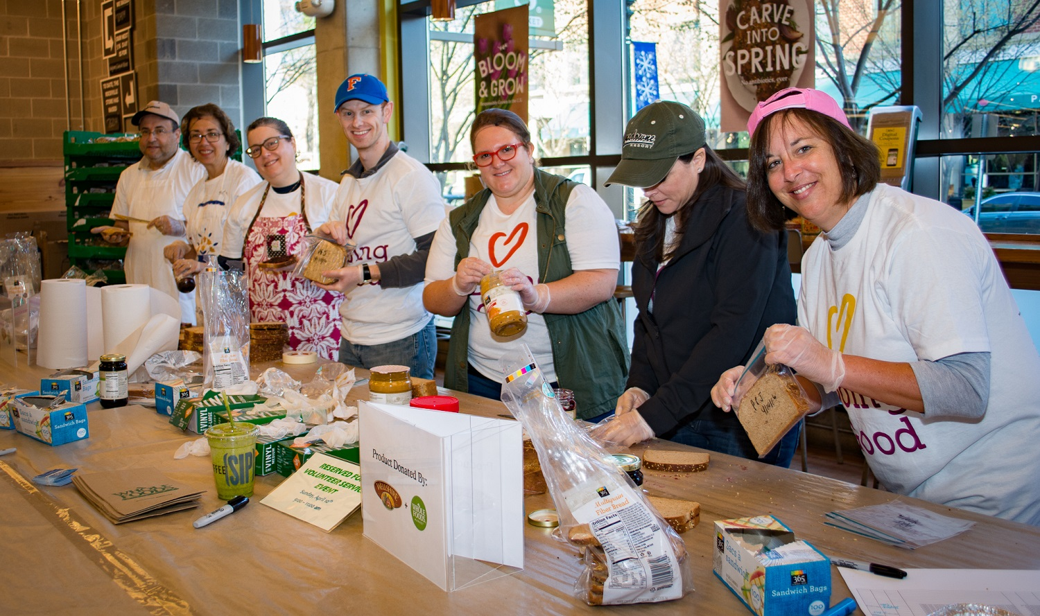 Volunteers from the Jewish Federation of Greater Washington make a meal.