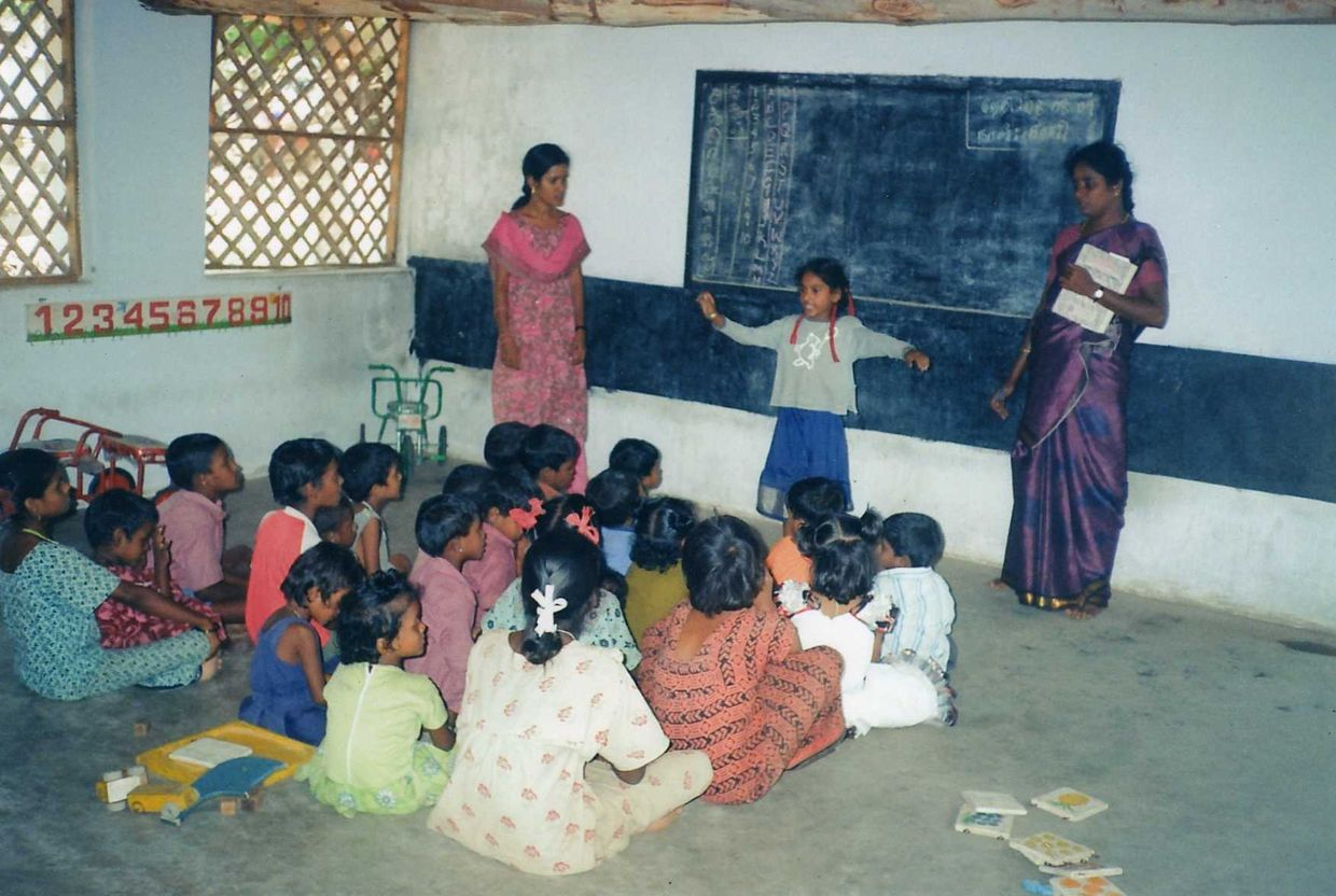Children learn at the Indian Social Serviced Institute in Southern India.